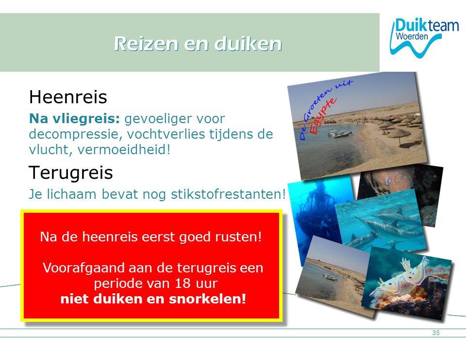 Nederlandse Onderwatersport Bond Reizen en duiken Heenreis Na vliegreis: gevoeliger voor decompressie, vochtverlies tijdens de vlucht, vermoeidheid! T