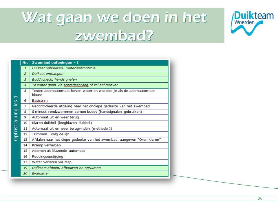 Nederlandse Onderwatersport Bond Wat gaan we doen in het zwembad? 36
