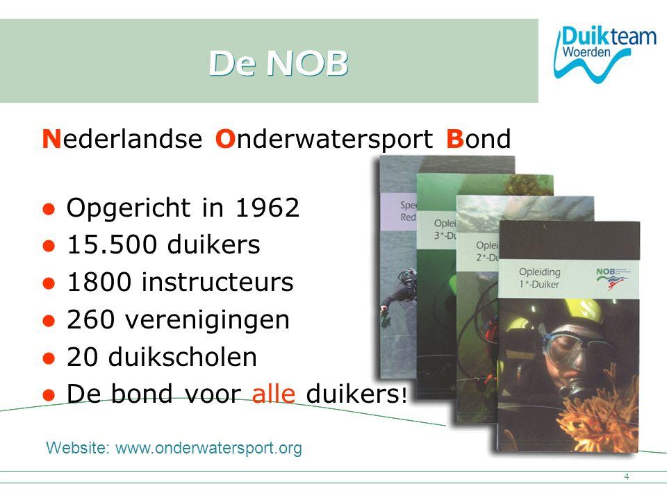Nederlandse Onderwatersport Bond De NOB Nederlandse Onderwatersport Bond Opgericht in 1962 15.500 duikers 1800 instructeurs 260 verenigingen 20 duiksc