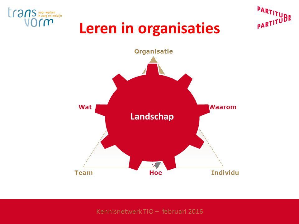 Organisatie Waarom Wat Individu Hoe Team Veerkracht Landschap Leren in organisaties Kennisnetwerk TiO – februari 2016