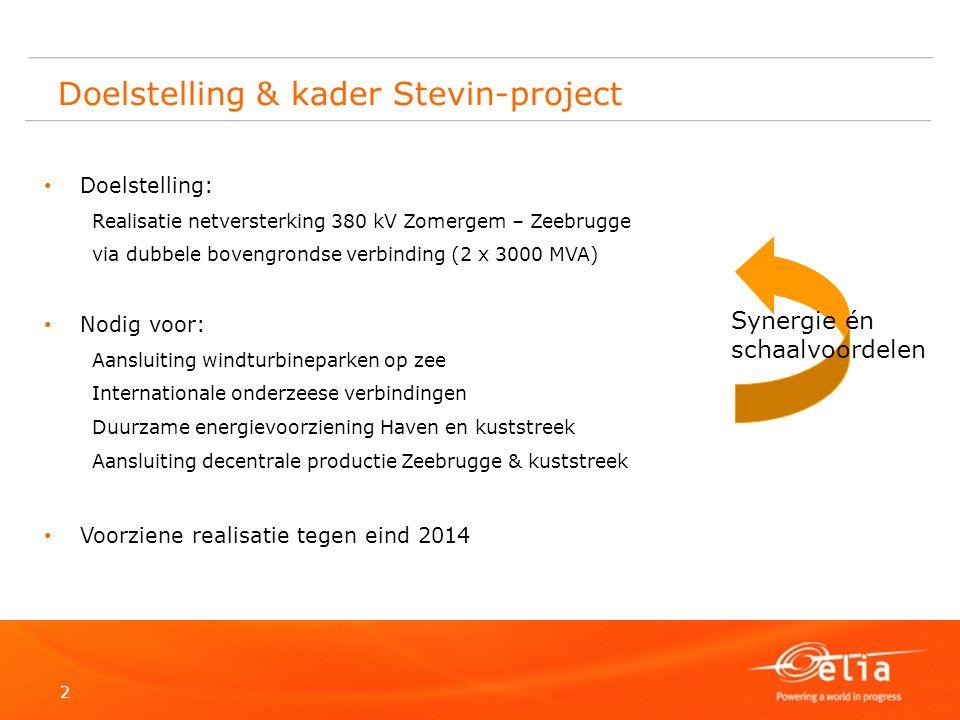 2 Doelstelling & kader Stevin-project Doelstelling: Realisatie netversterking 380 kV Zomergem – Zeebrugge via dubbele bovengrondse verbinding (2 x 300