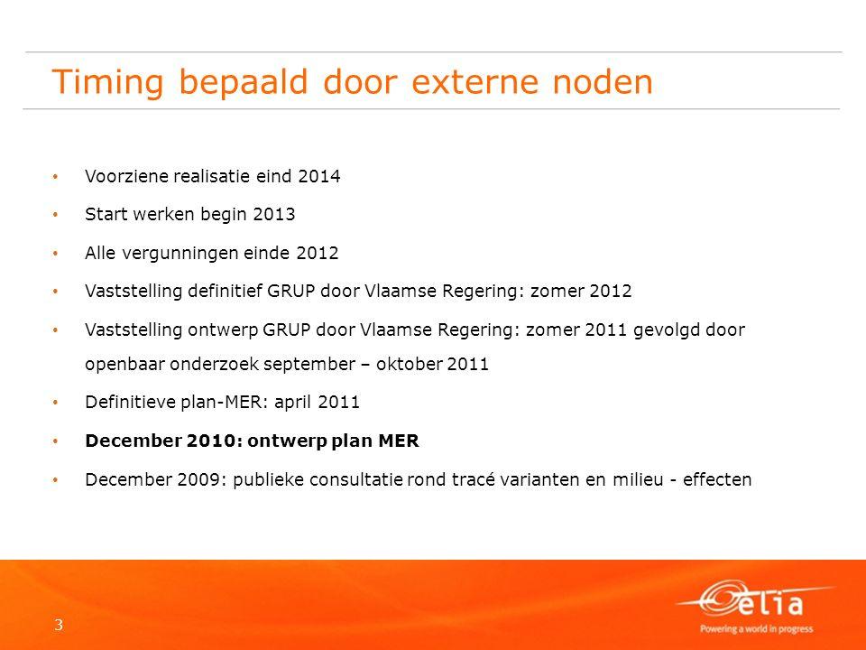 3 Timing bepaald door externe noden Voorziene realisatie eind 2014 Start werken begin 2013 Alle vergunningen einde 2012 Vaststelling definitief GRUP d