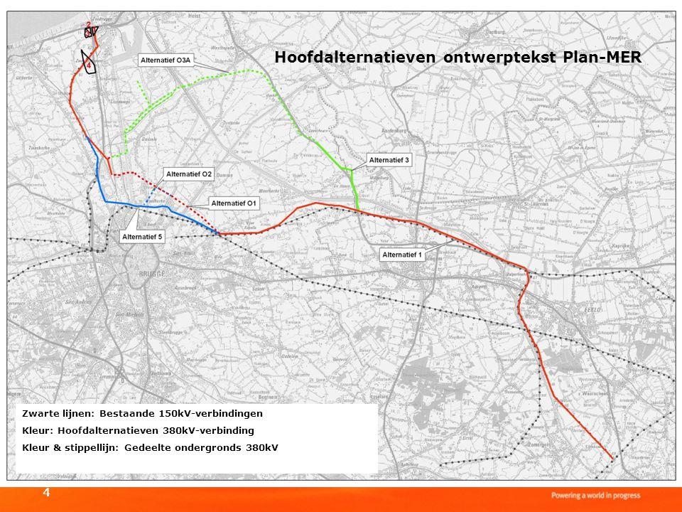 44 Hoofdalternatieven ontwerptekst Plan-MER Zwarte lijnen: Bestaande 150kV-verbindingen Kleur: Hoofdalternatieven 380kV-verbinding Kleur & stippellijn
