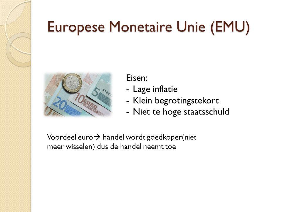 Europese Monetaire Unie (EMU) Eisen: -Lage inflatie -Klein begrotingstekort -Niet te hoge staatsschuld Voordeel euro  handel wordt goedkoper(niet meer wisselen) dus de handel neemt toe