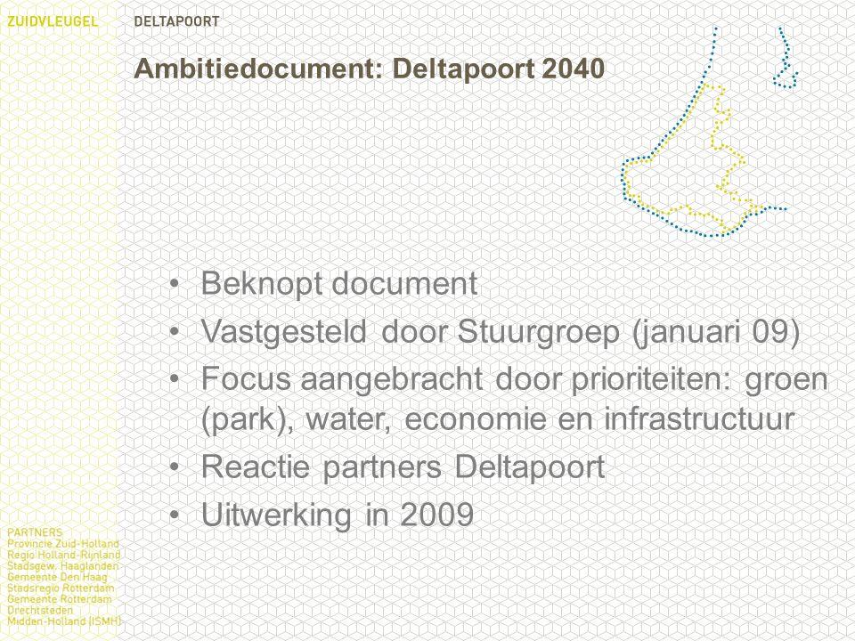 Ambitiedocument: Deltapoort 2040 Beknopt document Vastgesteld door Stuurgroep (januari 09) Focus aangebracht door prioriteiten: groen (park), water, economie en infrastructuur Reactie partners Deltapoort Uitwerking in 2009