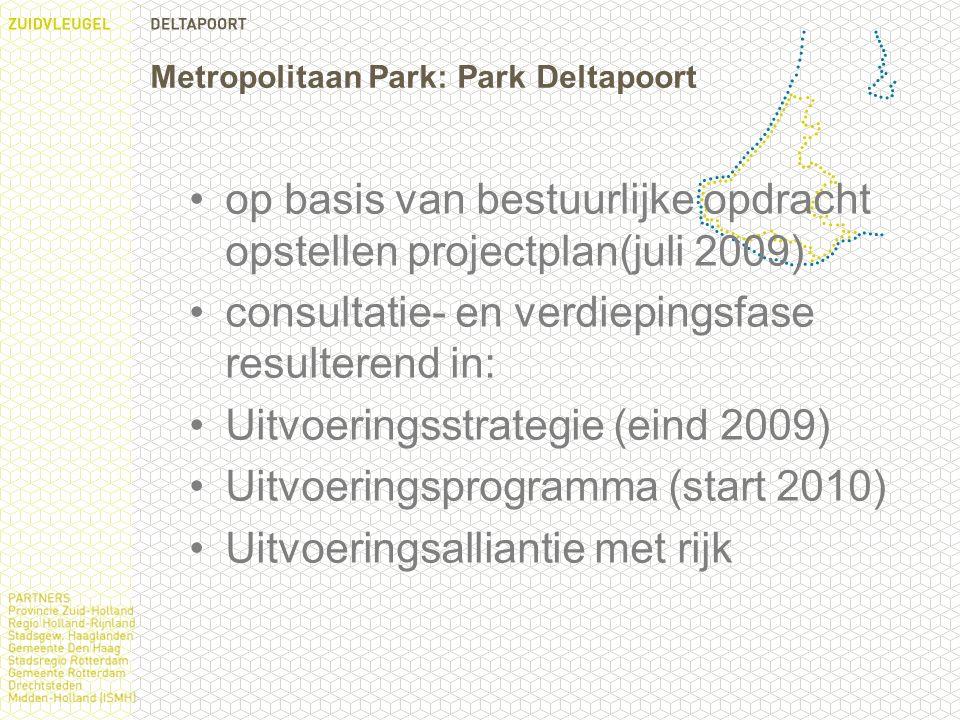 Metropolitaan Park: Park Deltapoort op basis van bestuurlijke opdracht opstellen projectplan(juli 2009) consultatie- en verdiepingsfase resulterend in: Uitvoeringsstrategie (eind 2009) Uitvoeringsprogramma (start 2010) Uitvoeringsalliantie met rijk
