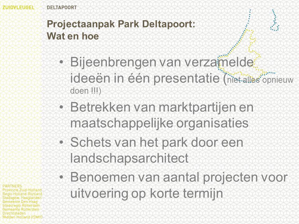 Projectaanpak Park Deltapoort: Wat en hoe Bijeenbrengen van verzamelde ideeën in één presentatie ( niet alles opnieuw doen !!!) Betrekken van marktpartijen en maatschappelijke organisaties Schets van het park door een landschapsarchitect Benoemen van aantal projecten voor uitvoering op korte termijn