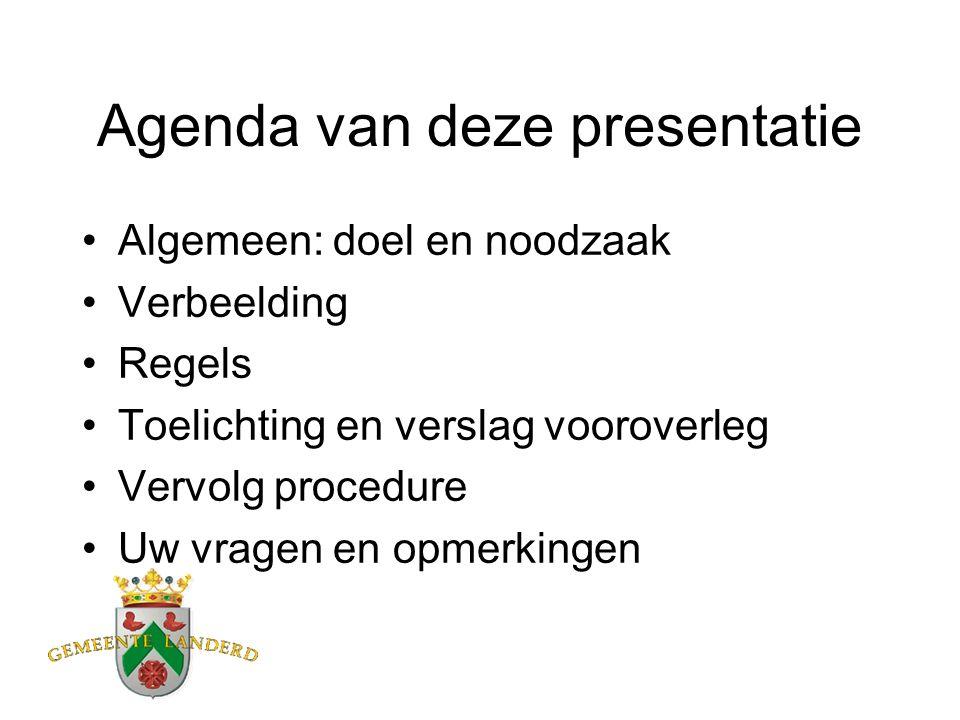 Agenda van deze presentatie Algemeen: doel en noodzaak Verbeelding Regels Toelichting en verslag vooroverleg Vervolg procedure Uw vragen en opmerkingen