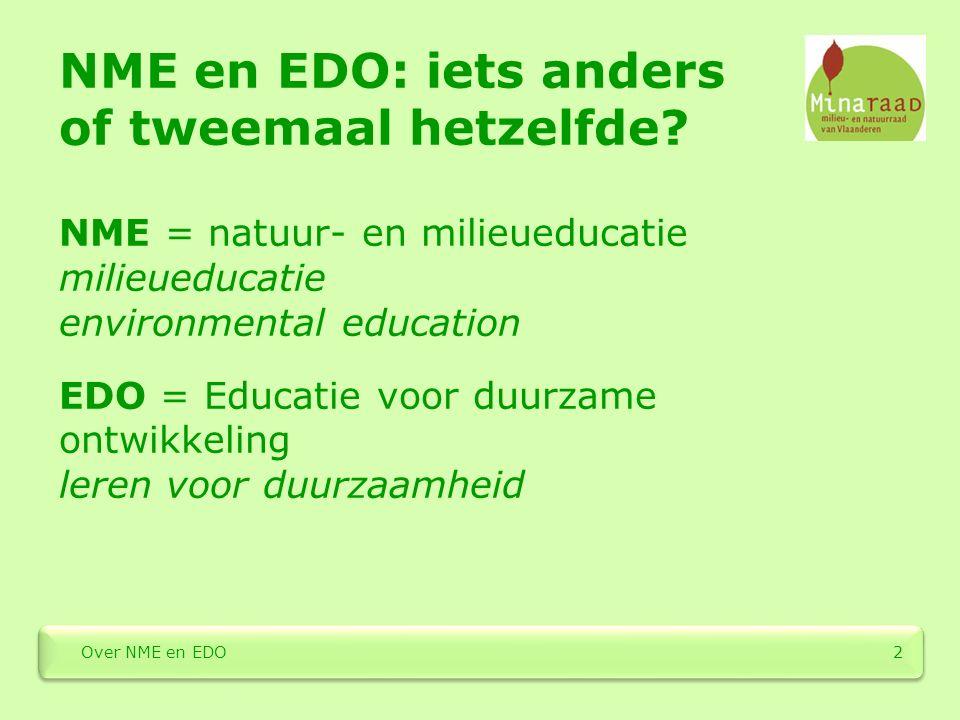 NME en EDO: iets anders of tweemaal hetzelfde? NME = natuur- en milieueducatie milieueducatie environmental education EDO = Educatie voor duurzame ont