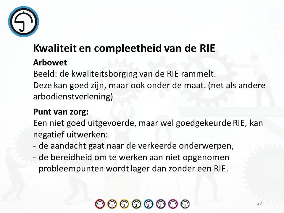 20 Kwaliteit en compleetheid van de RIE Arbowet Beeld: de kwaliteitsborging van de RIE rammelt.