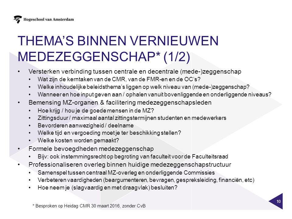 THEMA'S BINNEN VERNIEUWEN MEDEZEGGENSCHAP* (1/2) Versterken verbinding tussen centrale en decentrale (mede-)zeggenschap Wat zijn de kerntaken van de CMR, van de FMR-en en de OC's.
