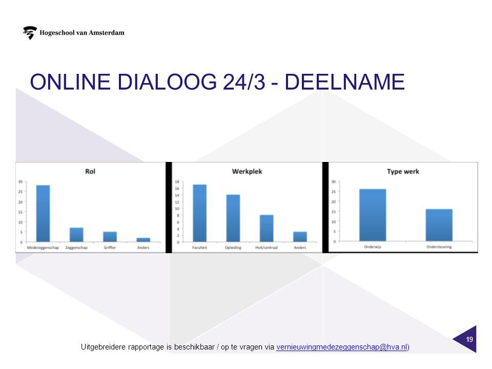 ONLINE DIALOOG 24/3 - DEELNAME 19 Uitgebreidere rapportage is beschikbaar / op te vragen via vernieuwingmedezeggenschap@hva.nl)vernieuwingmedezeggenschap@hva.nl