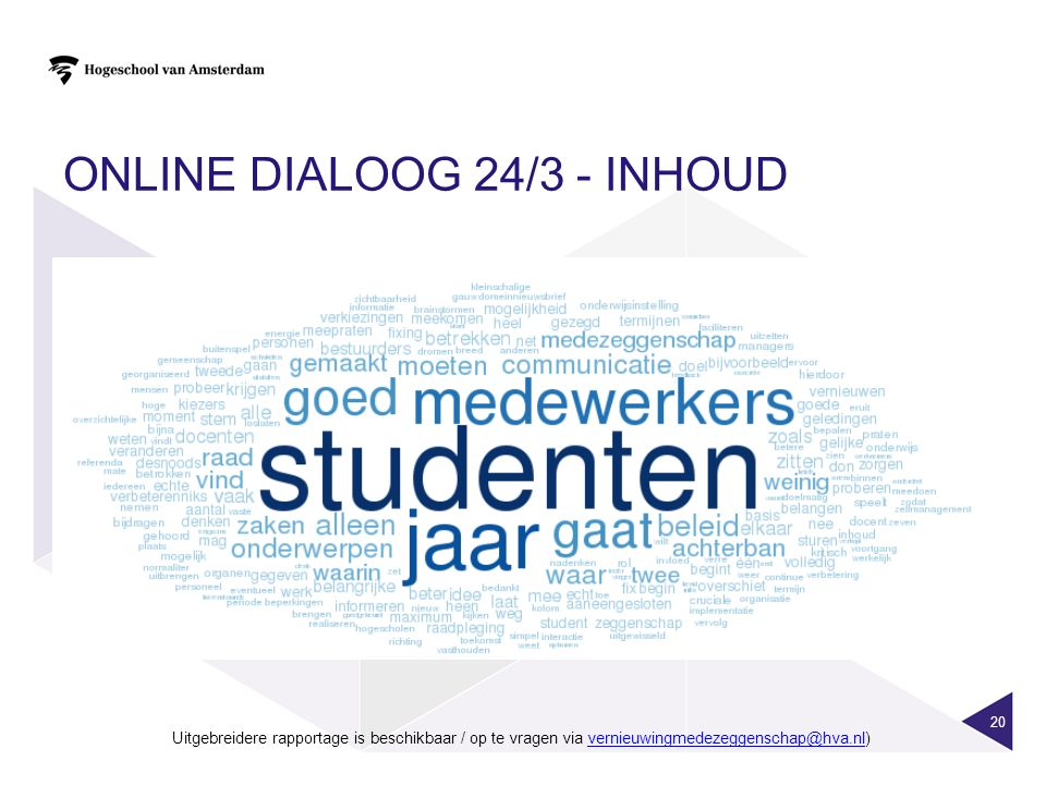ONLINE DIALOOG 24/3 - INHOUD 20 Uitgebreidere rapportage is beschikbaar / op te vragen via vernieuwingmedezeggenschap@hva.nl)vernieuwingmedezeggenscha
