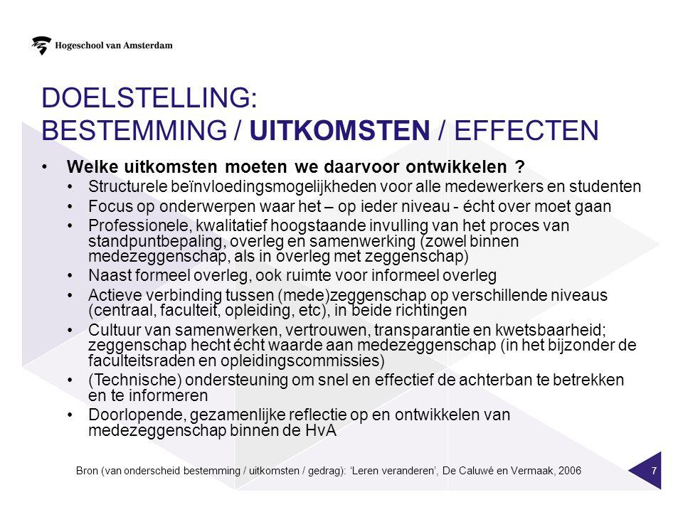 DOELSTELLING: BESTEMMING / UITKOMSTEN / EFFECTEN Welke effecten hopen we daarmee te bereiken.
