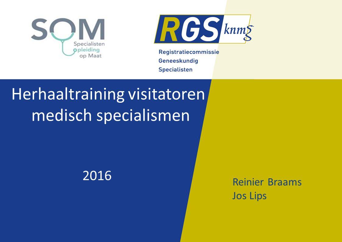 Wijziging regelgeving Rol/taken RGS/visitatiecommissie RGS moet meer dan voorheen afgaan op oordeel opleider omdat eigen rol beperkter is geworden RGS beoordeelt niet (meer) inhoudelijk RGS beoordeelt wel het proces van beoordeling door de opleider met aandacht voor gevolgde procedures en de onderbouwing