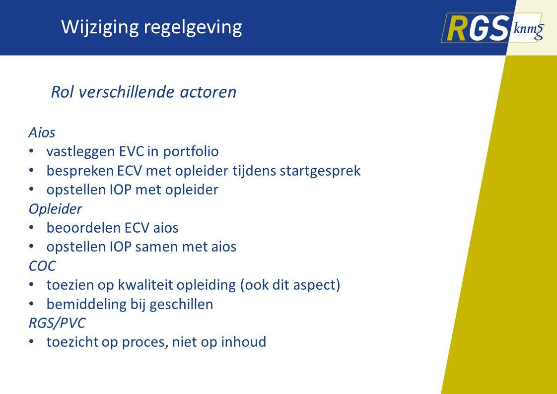 Wijziging regelgeving Rol verschillende actoren Aios vastleggen EVC in portfolio bespreken ECV met opleider tijdens startgesprek opstellen IOP met opl