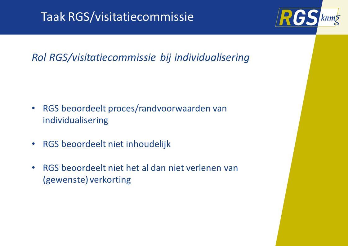Taak RGS/visitatiecommissie Rol RGS/visitatiecommissie bij individualisering RGS beoordeelt proces/randvoorwaarden van individualisering RGS beoordeel