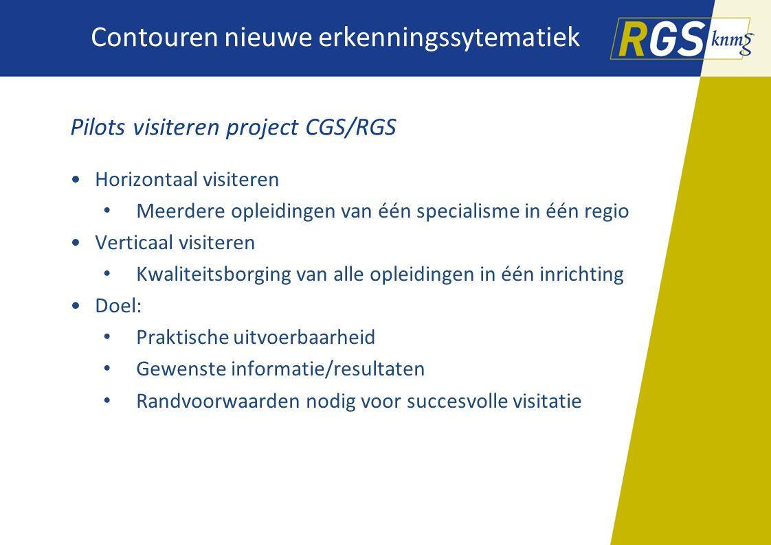 Contouren nieuwe erkenningssytematiek Pilots visiteren project CGS/RGS Horizontaal visiteren Meerdere opleidingen van één specialisme in één regio Ver