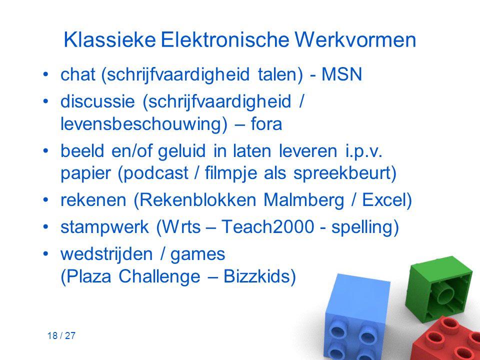 18 / 27 Klassieke Elektronische Werkvormen chat (schrijfvaardigheid talen) - MSN discussie (schrijfvaardigheid / levensbeschouwing) – fora beeld en/of