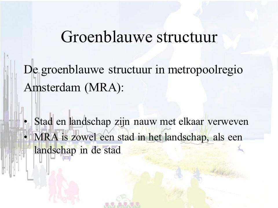 Groenblauwe structuur De groenblauwe structuur in metropoolregio Amsterdam (MRA): Stad en landschap zijn nauw met elkaar verweven MRA is zowel een stad in het landschap, als een landschap in de stad