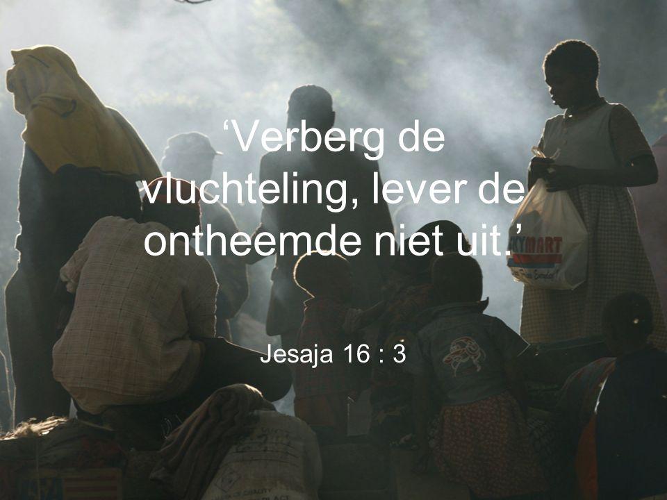 'Verberg de vluchteling, lever de ontheemde niet uit.' Jesaja 16 : 3
