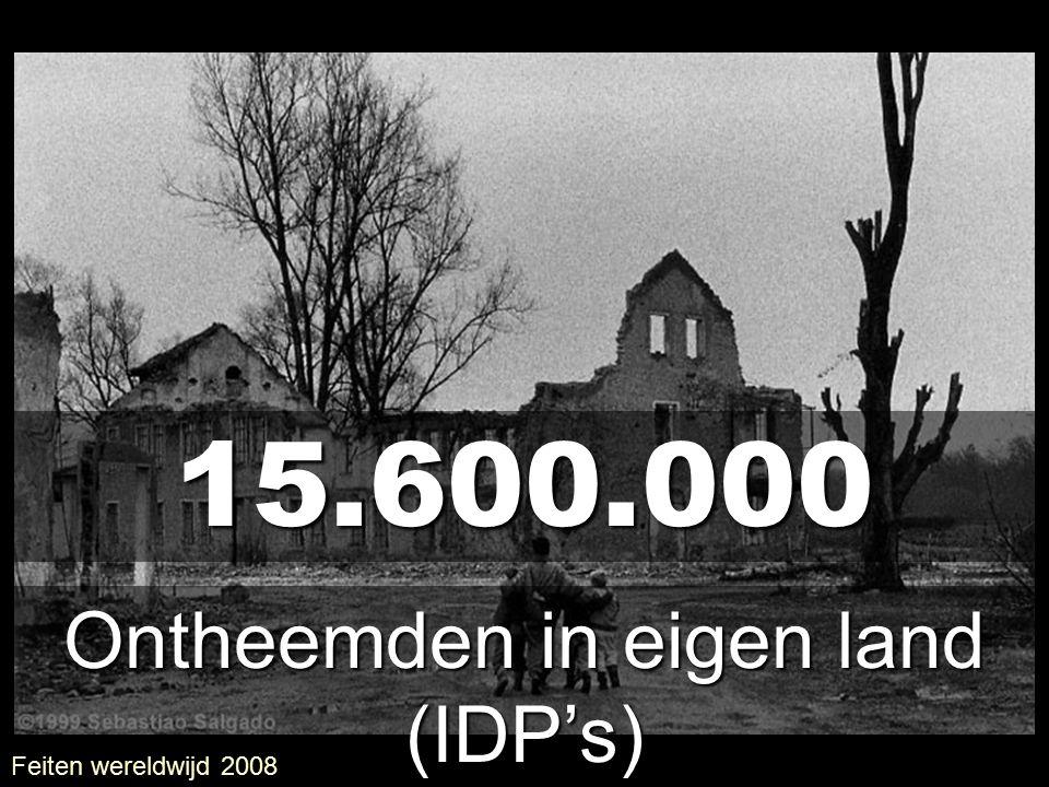 15.600.000 Ontheemden in eigen land (IDP's) Feiten wereldwijd 2008