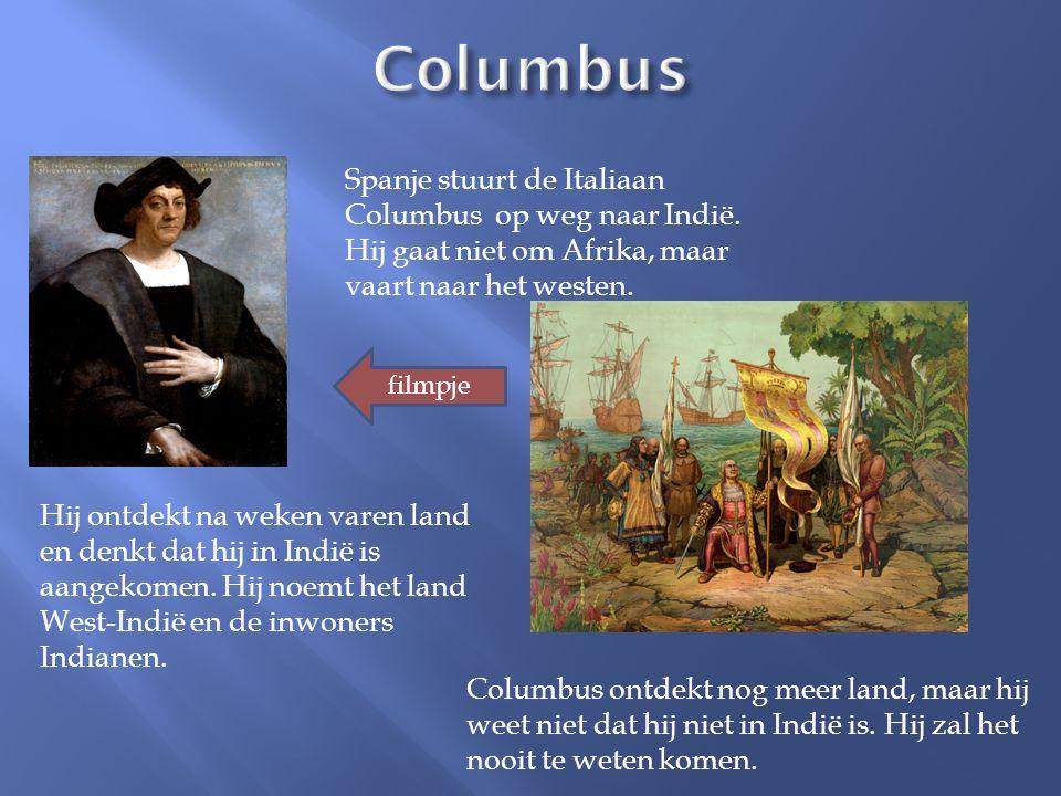 Spanje stuurt de Italiaan Columbus op weg naar Indië. Hij gaat niet om Afrika, maar vaart naar het westen. Hij ontdekt na weken varen land en denkt da