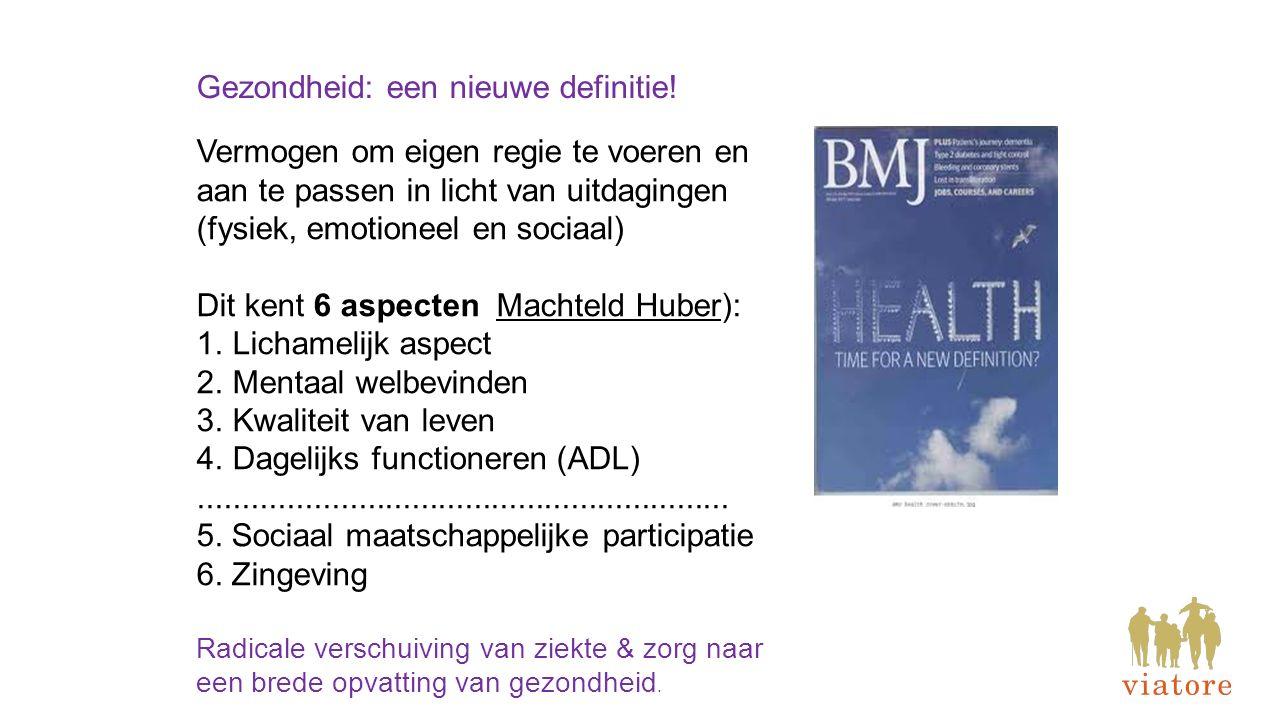 Gezondheid: een nieuwe definitie! Vermogen om eigen regie te voeren en aan te passen in licht van uitdagingen (fysiek, emotioneel en sociaal) Dit kent