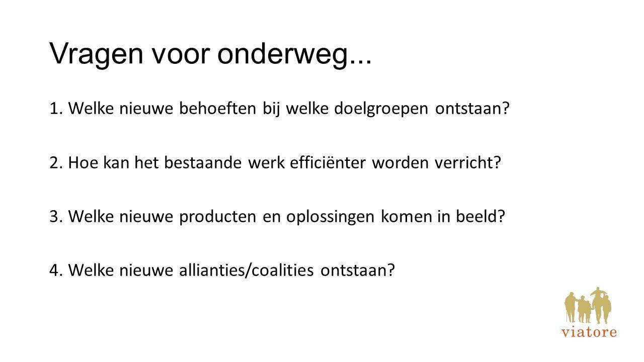 Vragen voor onderweg... 1. Welke nieuwe behoeften bij welke doelgroepen ontstaan? 2. Hoe kan het bestaande werk efficiënter worden verricht? 3. Welke