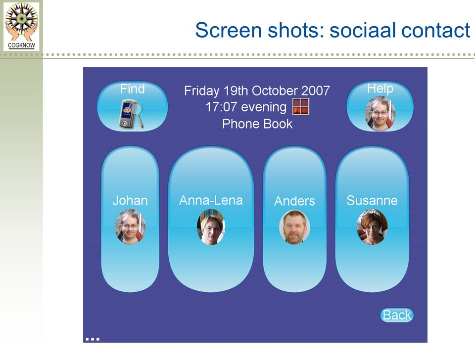 Screen shots: sociaal contact
