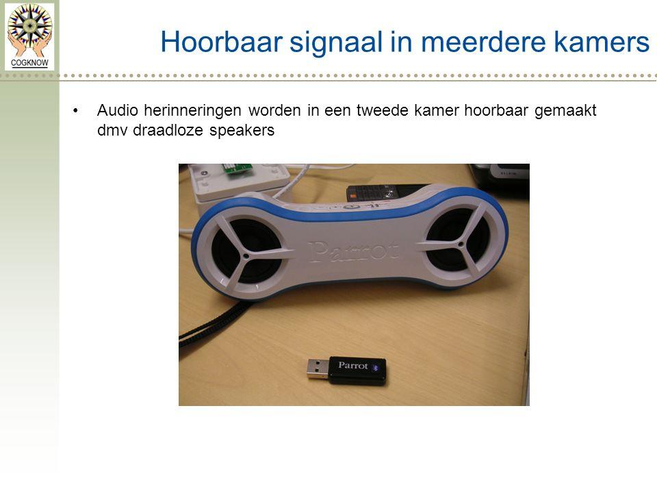 Hoorbaar signaal in meerdere kamers Audio herinneringen worden in een tweede kamer hoorbaar gemaakt dmv draadloze speakers