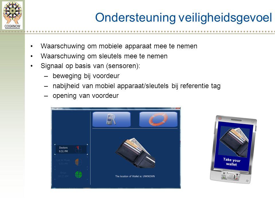 Ondersteuning veiligheidsgevoel Waarschuwing om mobiele apparaat mee te nemen Waarschuwing om sleutels mee te nemen Signaal op basis van (sensoren): –beweging bij voordeur –nabijheid van mobiel apparaat/sleutels bij referentie tag –opening van voordeur