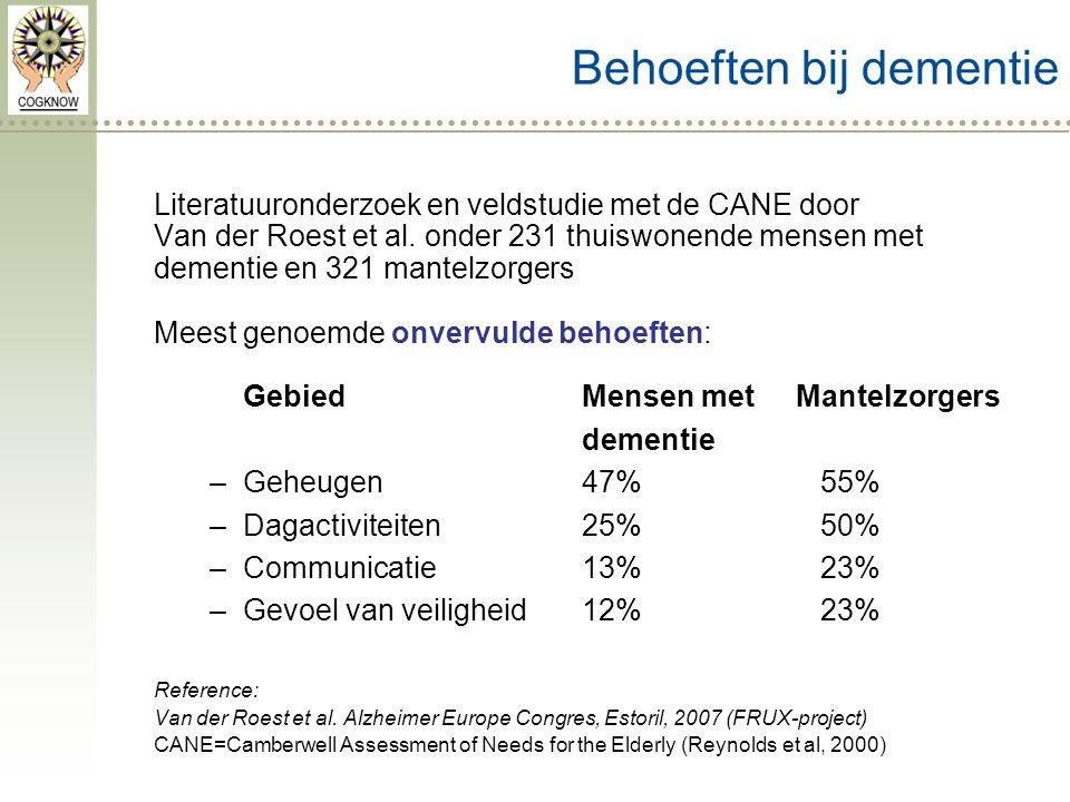 Behoeften bij dementie Literatuuronderzoek en veldstudie met de CANE door Van der Roest et al.