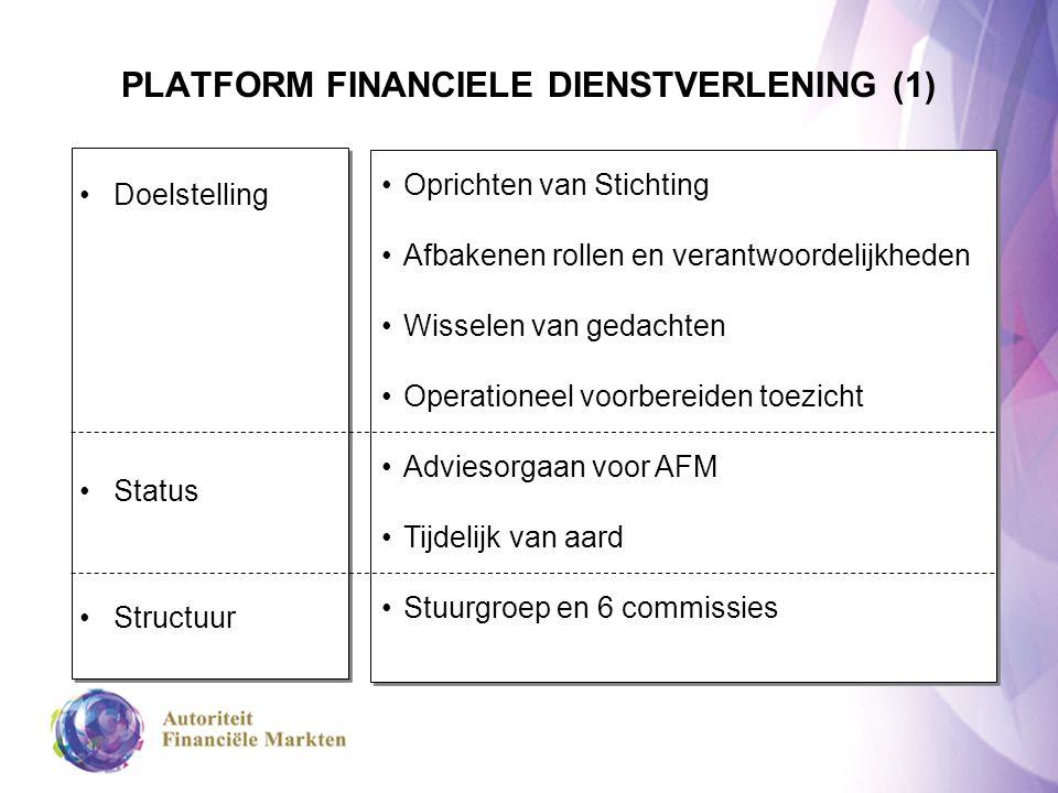PLATFORM FINANCIELE DIENSTVERLENING (2) STUURGROEP Stichting/Rolafbakening Deskundigheid Transparantie & Zorgplicht Aanbieder - bemiddelaar Klachtenregeling Communicatie