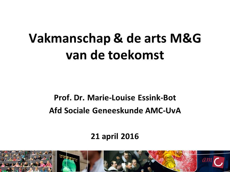 Vakmanschap & de arts M&G van de toekomst Prof. Dr. Marie-Louise Essink-Bot Afd Sociale Geneeskunde AMC-UvA 21 april 2016