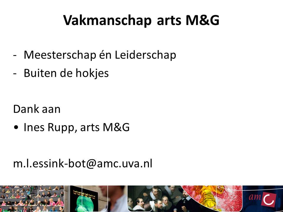 Vakmanschap arts M&G -Meesterschap én Leiderschap -Buiten de hokjes Dank aan Ines Rupp, arts M&G m.l.essink-bot@amc.uva.nl