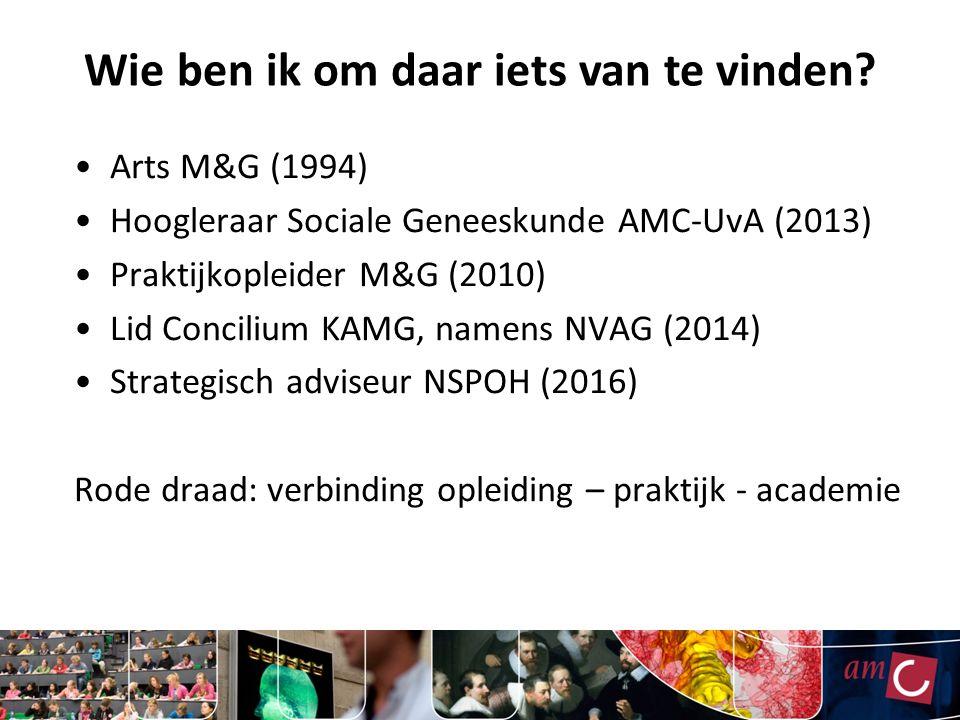Arts M&G (1994) Hoogleraar Sociale Geneeskunde AMC-UvA (2013) Praktijkopleider M&G (2010) Lid Concilium KAMG, namens NVAG (2014) Strategisch adviseur