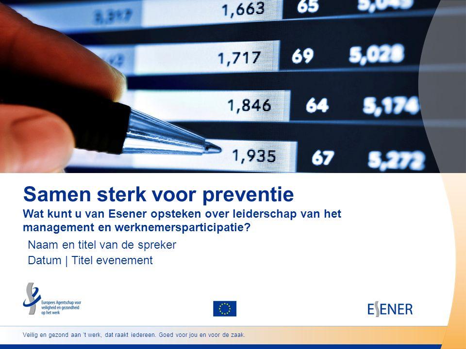 12 www.esener.eu Vormen van werknemersvertegenwoordiging: Algemeen — ondernemingsraad en/of vakbondsvertegenwoordiger; Specifiek — comité voor veiligheid en gezondheid en/of vertegenwoordiger inzake veiligheid en gezondheid Werknemersparticipatie Invloed van werknemersparticipatie en inzet van het management op het nemen van maatregelen om psychosociale risico's aan te pakken Een combinatie van een grote inzet van het management en werknemersvertegenwoordiging (vooral specifiek op het gebied van veiligheid en gezondheid) heeft opnieuw een sterke invloed op de aanpak van stress, geweld en pesterijen.