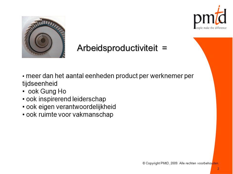 2 Arbeidsproductiviteit = © Copyright PMtD, 2009. Alle rechten voorbehouden.