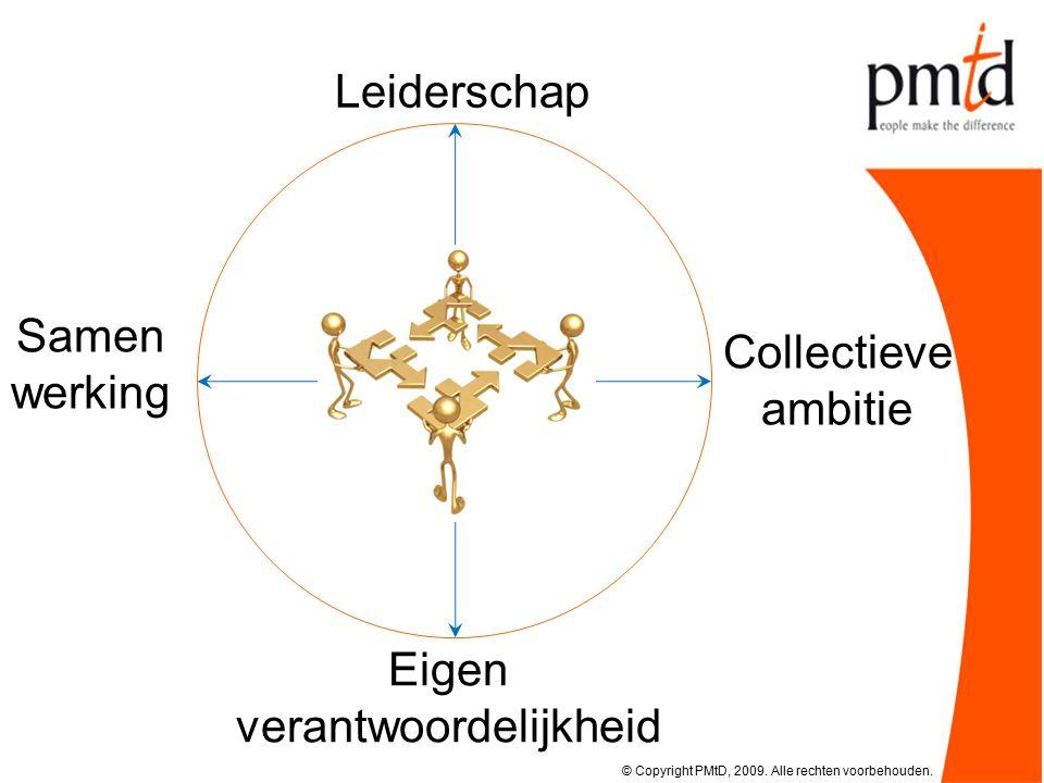 Collectieve ambitie Leiderschap Eigen verantwoordelijkheid Samen werking © Copyright PMtD, 2009.