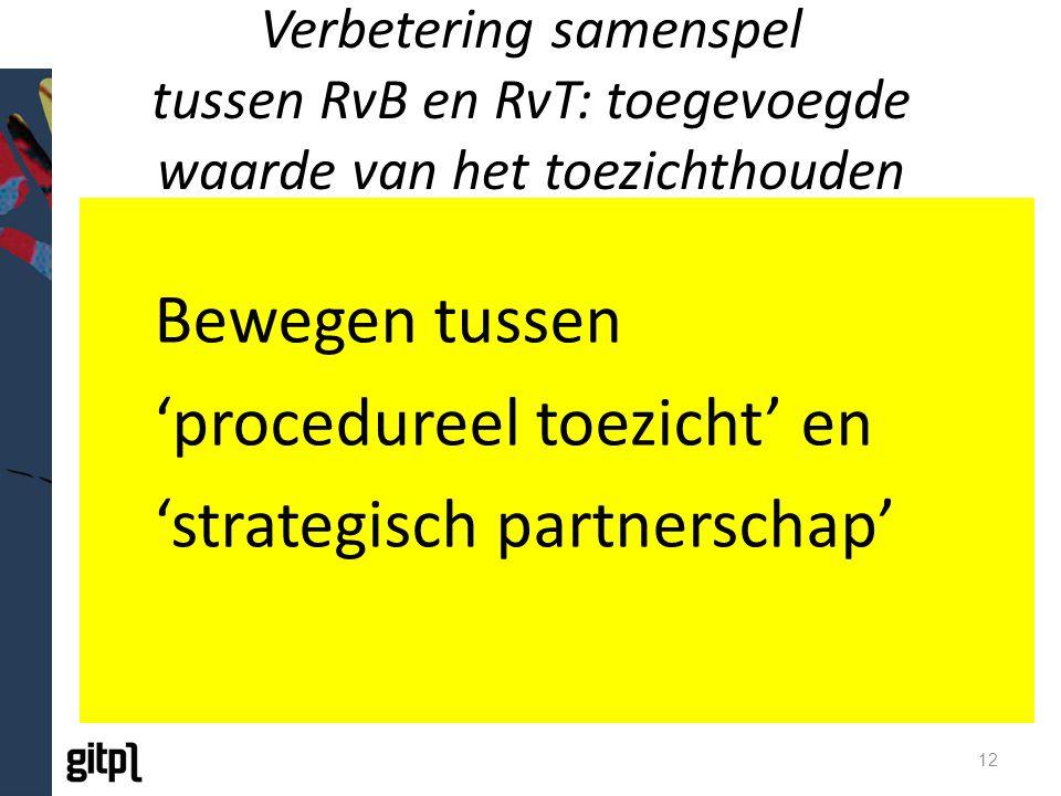 Verbetering samenspel tussen RvB en RvT: toegevoegde waarde van het toezichthouden Bewegen tussen 'procedureel toezicht' en 'strategisch partnerschap' 12