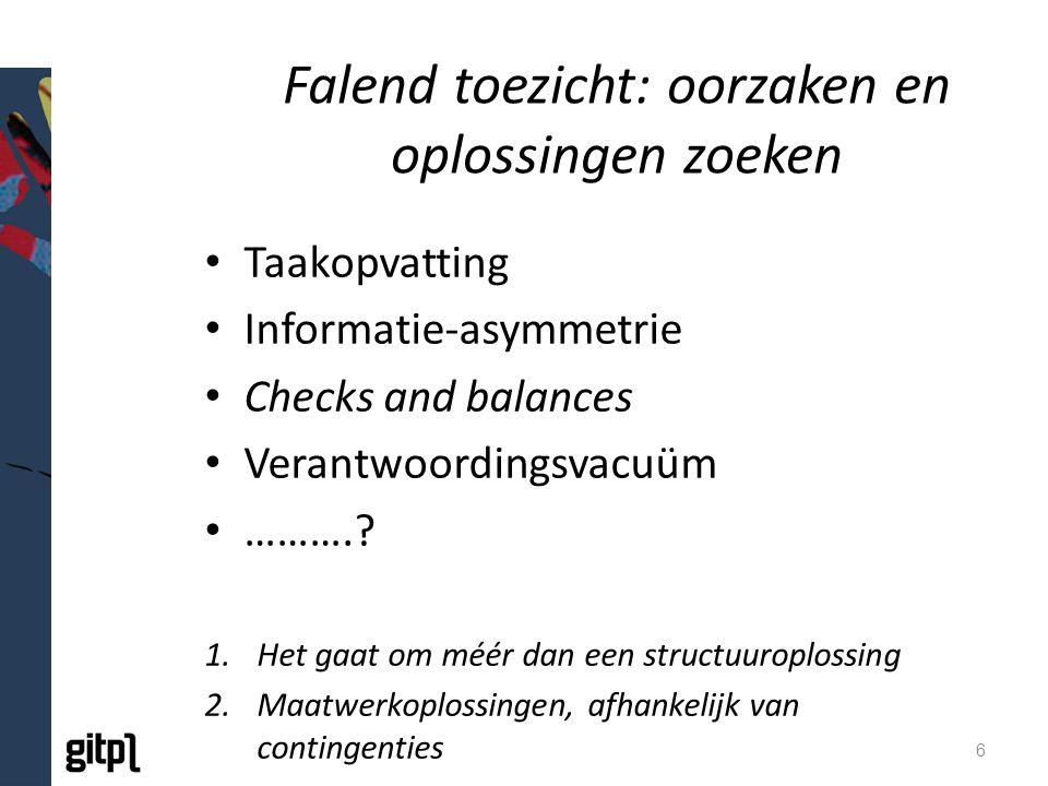 Falend toezicht: oorzaken en oplossingen zoeken Taakopvatting Informatie-asymmetrie Checks and balances Verantwoordingsvacuüm ………..