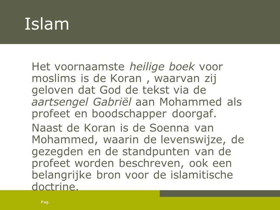 Pag. Islam Het voornaamste heilige boek voor moslims is de Koran, waarvan zij geloven dat God de tekst via de aartsengel Gabriël aan Mohammed als prof