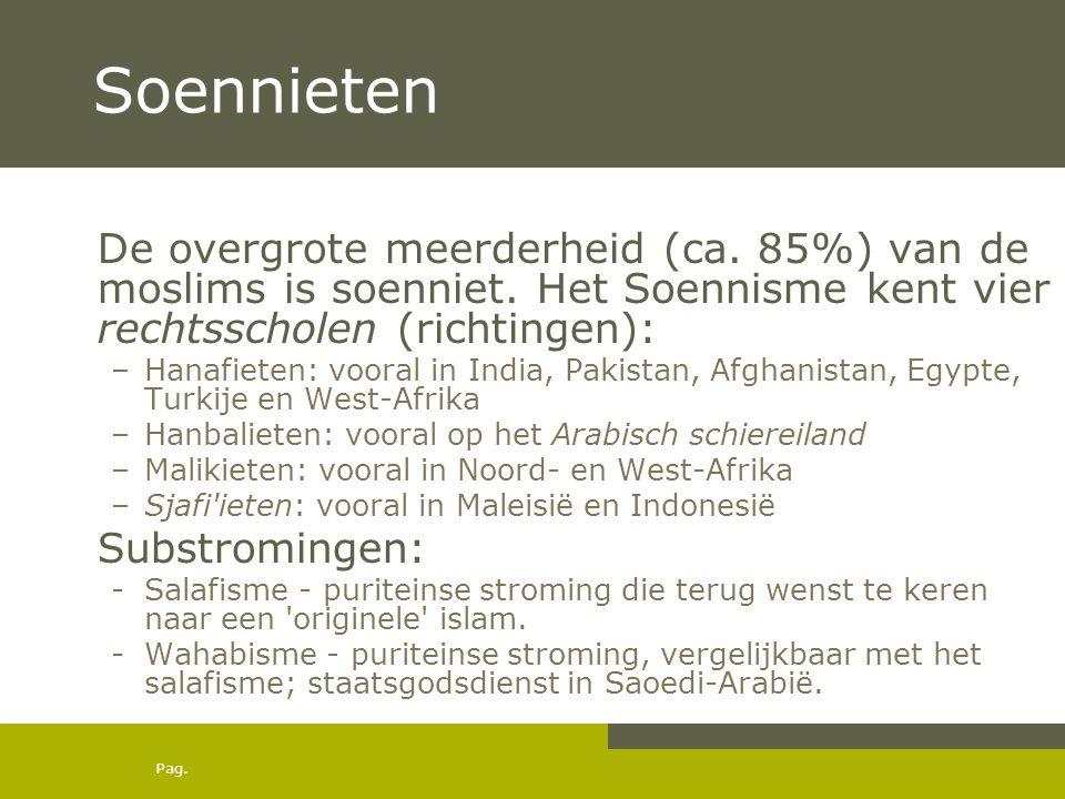 Pag. Soennieten De overgrote meerderheid (ca. 85%) van de moslims is soenniet. Het Soennisme kent vier rechtsscholen (richtingen): –Hanafieten: vooral