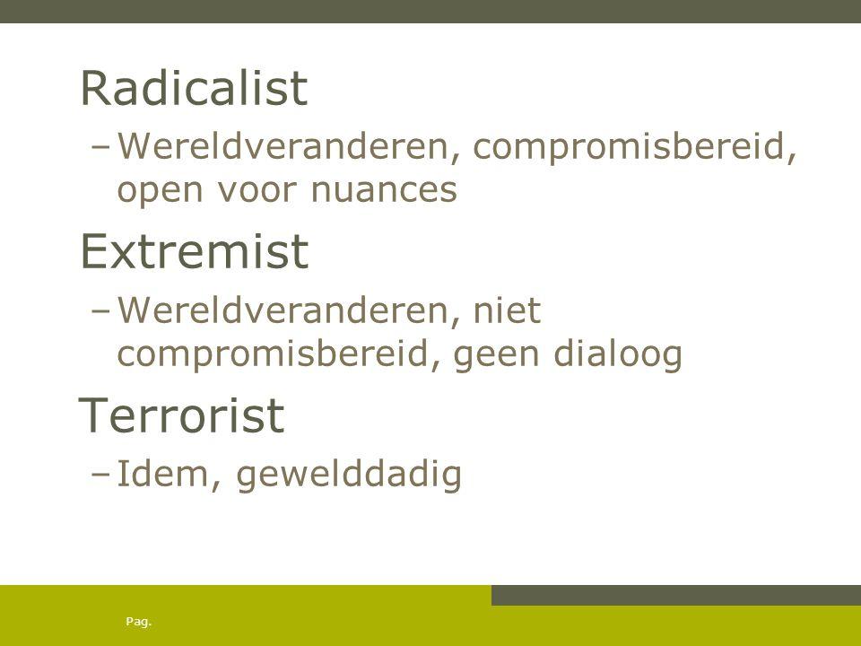 Pag. Radicalist –Wereldveranderen, compromisbereid, open voor nuances Extremist –Wereldveranderen, niet compromisbereid, geen dialoog Terrorist –Idem,