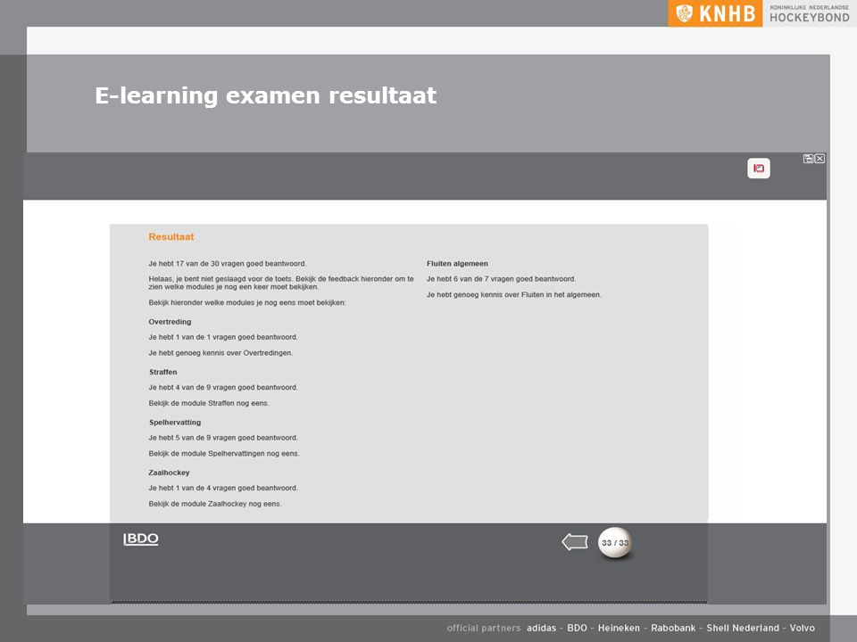 E-learning examen resultaat