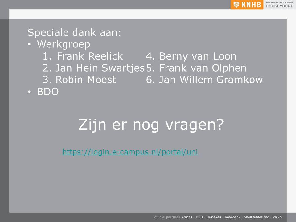 Zijn er nog vragen? https://login.e-campus.nl/portal/uni Speciale dank aan: Werkgroep 1. Frank Reelick 4. Berny van Loon 2. Jan Hein Swartjes5. Frank