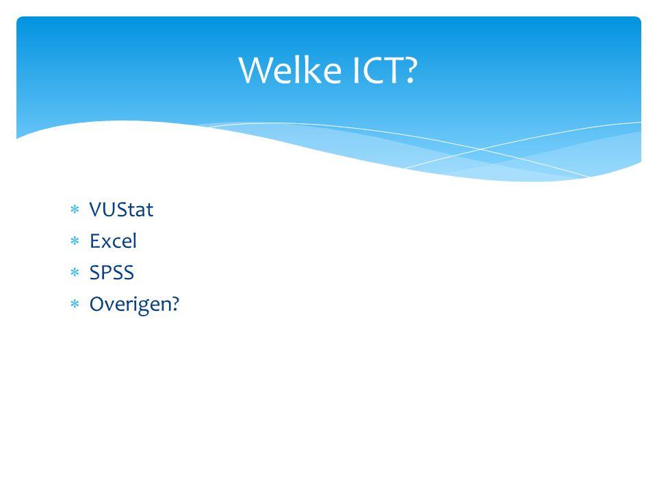 VUStat  Excel  SPSS  Overigen Welke ICT