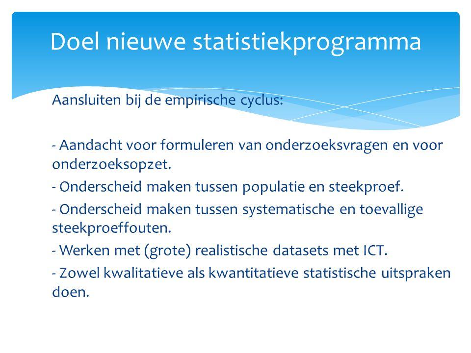 Doel nieuwe statistiekprogramma Aansluiten bij de empirische cyclus: - Aandacht voor formuleren van onderzoeksvragen en voor onderzoeksopzet.