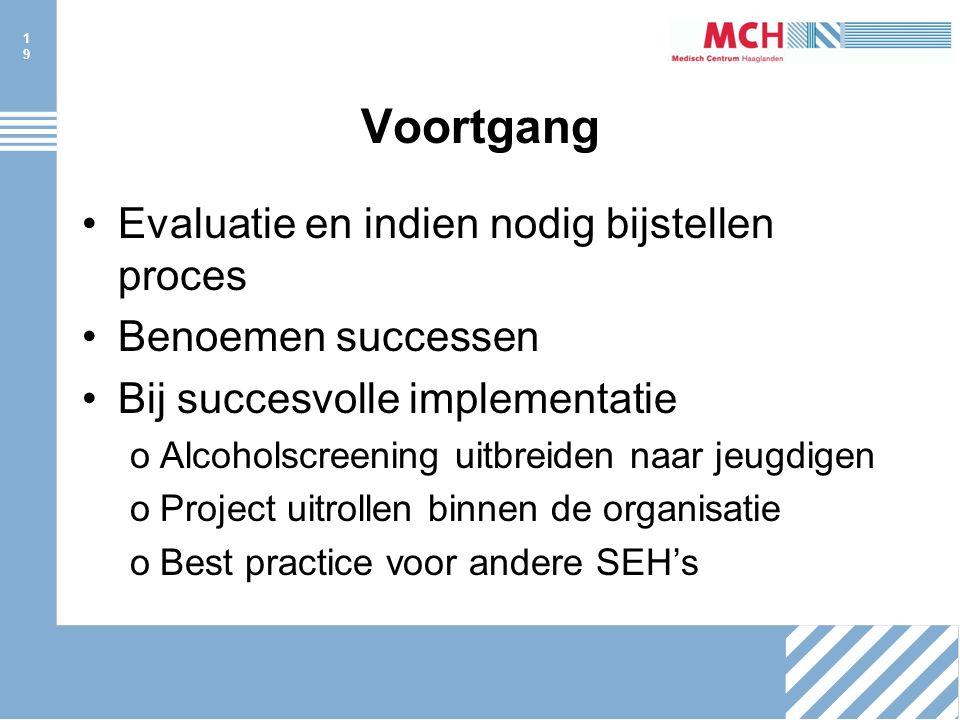 19 Voortgang Evaluatie en indien nodig bijstellen proces Benoemen successen Bij succesvolle implementatie oAlcoholscreening uitbreiden naar jeugdigen oProject uitrollen binnen de organisatie oBest practice voor andere SEH's